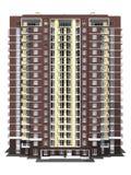 representación 3d del edificio residencial de varios pisos moderno Foto de archivo libre de regalías