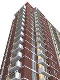 representación 3d del edificio residencial de varios pisos moderno Imagenes de archivo