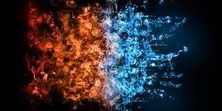 representación 3D del elemento abstracto del fuego y del Helar-agua contra contra uno a fondo Calor y concepto frío ilustración del vector