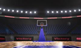 representación 3d del estadio del baloncesto con las luces libre illustration