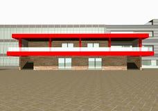 representación 3D del exterior moderno del edificio Imágenes de archivo libres de regalías