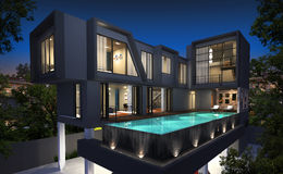 representación 3D del exterior tropical de la casa Imagenes de archivo