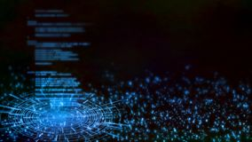 representación 3D del fondo abstracto de la tecnología Codificación en software en software en interfaz llevado del hud que brill stock de ilustración