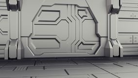 representación 3D del hangar a puerta cerrada de la nave espacial realista de la ciencia ficción stock de ilustración