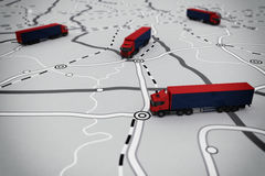 representación 3D del itinerario del transporte Foto de archivo libre de regalías