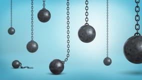 representación 3d del mucho hierro negro que arruina las bolas que cuelgan en cadenas y caidas abajo en fondo azul stock de ilustración