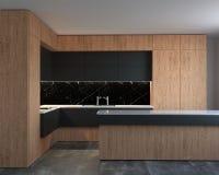 representación 3d del nuevo interior de alta tecnología de la cocina stock de ilustración