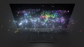 representación 3d del ordenador con efecto digital de la capa Ilustración fotos de archivo libres de regalías