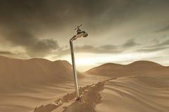 representación 3d del paisaje de la duna con la espita Concepto de escasez de agua stock de ilustración