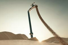 representación 3d del paisaje de la duna con la espita que fluye de la arena Concepto de escasez de agua ilustración del vector