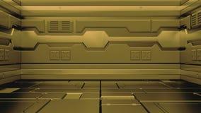 representación 3D del pasillo realista de la nave espacial de la ciencia ficción ilustración del vector