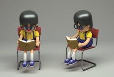 representación 3d del personaje de dibujos animados femenino Muchacha de la lectura stock de ilustración