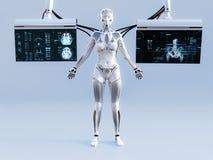 representación 3D del robot femenino conectada con las pantallas stock de ilustración