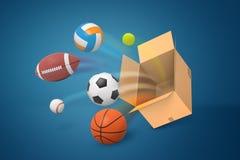 representación 3d del sistema de bolas del deporte que vuelan de la caja del cartón en fondo azul fotos de archivo libres de regalías