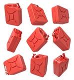 representación 3d del sistema de latas rojas abiertas del gas aisladas en el fondo blanco libre illustration