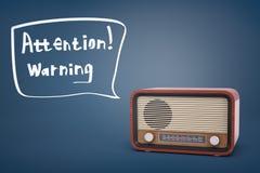 representación 3d del sistema de radio retro marrón cerca de una burbuja del discurso con la atención de las palabras y de la adv libre illustration