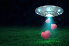 representación 3d del UFO en aire en la noche con tres corazones rojos lindos que caen abajo de su portilla abierta sobre césped  fotografía de archivo