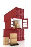 representación 3D: ejemplo de apilado del envase de tres rojos con las cajas de cartón dentro del envase importación de la export stock de ilustración