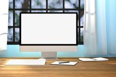 representación 3D: ejemplo de la maqueta del lugar de trabajo Moniter de la PC en la tabla de madera La superficie de funcionamie Foto de archivo libre de regalías
