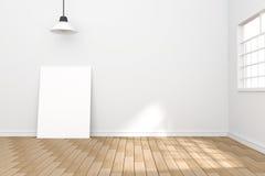 representación 3D: ejemplo del cartel blanco en sitio vacío espacio para su texto y imagen plantilla de la exhibición del product stock de ilustración