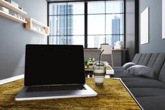 representación 3D: ejemplo del cierre encima de los ordenadores portátiles en el interior de la decoración del café del café u of Fotografía de archivo