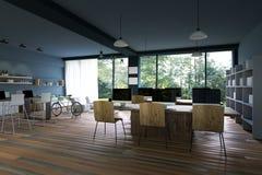 representación 3D: ejemplo del interior de la decoración del café de la PC de Internet u oficina de la PC del interior del trabaj Imagen de archivo libre de regalías