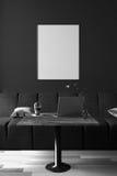 representación 3D: ejemplo del interior de la decoración del café del café u oficina de la PC del interior del trabajador del ord Imágenes de archivo libres de regalías