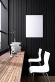 representación 3D: ejemplo del interior de la decoración del café del café u oficina de la PC del interior del trabajador del ord Fotografía de archivo