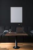 representación 3D: ejemplo del interior de la decoración del café del café u oficina de la PC del interior del trabajador del ord Fotografía de archivo libre de regalías