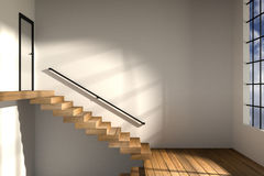 representación 3D: el ejemplo de la vista lateral de la zona de la escalera intensifica para solar después en un apartamento espa libre illustration
