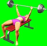 representación 3D en el fondo verde de la muchacha mientras que realiza ejercicio de la aptitud fotos de archivo