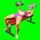 representación 3D en el fondo verde de la muchacha mientras que realiza ejercicio de la aptitud foto de archivo