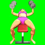 representación 3D en el fondo verde de la muchacha mientras que realiza ejercicio de la aptitud foto de archivo libre de regalías