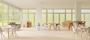 representación 3d, espacio de Co-trabajo, lugar vacío, pared blanca y piso de madera imagenes de archivo