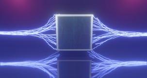 representación 3d Figura geométrica en la luz de neón contra un túnel oscuro Resplandor del laser libre illustration