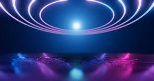 representación 3d Figura geométrica en la luz de neón contra un túnel oscuro Resplandor del laser ilustración del vector