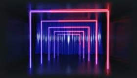 representación 3d Figura geométrica en la luz de neón contra un túnel oscuro Resplandor del laser stock de ilustración