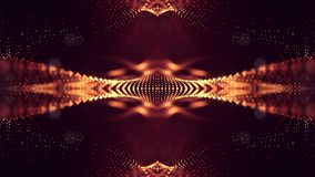 representación 3d, fondo de la ciencia ficción de partículas que brillan intensamente con la profundidad del campo y bokeh Línea  Fotos de archivo libres de regalías