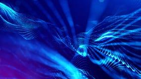 representación 3d, fondo de la ciencia ficción de partículas que brillan intensamente con la profundidad del campo y bokeh Línea  Imagen de archivo