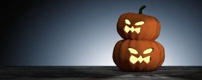 representación 3D: Halloween dirige la calabaza de la Jack-o-linterna en piso de madera con el fondo ligero del descenso Concepto Fotos de archivo libres de regalías