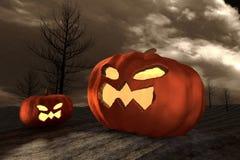 representación 3D: Halloween dirige la calabaza de la Jack-o-linterna en un postre místico en la noche con el árbol secado en fon Fotos de archivo libres de regalías