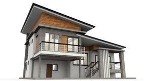 representación 3d moderna de casa stock de ilustración