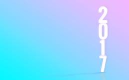 2017 (representación 3D) números blancos con el backd material del color del diseño Fotografía de archivo