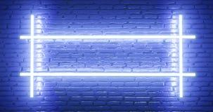 representación 3d Pared de ladrillo iluminada por una luz azul de neón abstraiga el fondo Efecto luminoso sobre la superficie que fotos de archivo libres de regalías