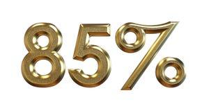 representación 3d Porcentajes del oro en un fondo blanco Fotos de archivo