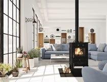 representación 3d sala de estar con la chimenea del arrabio en el apartamento moderno del desván stock de ilustración