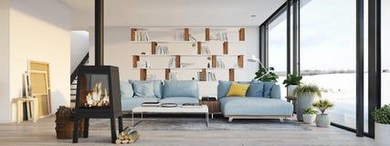 representación 3d sala de estar con la chimenea del arrabio en el apartamento moderno del desván ilustración del vector