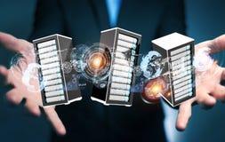 Representación de conexión del centro de datos 3D del sitio de los servidores del hombre de negocios Foto de archivo libre de regalías