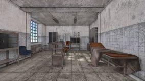 representación de 3D CG del hospital abandonado stock de ilustración