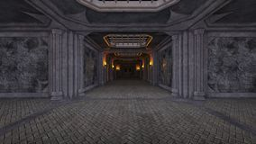 representación de 3D CG del vestíbulo abandonado stock de ilustración